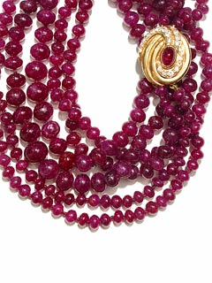 Two Strands of Ruby Bead Necklace w/ cabochon ruby
