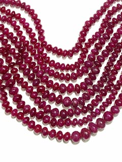 Eight Strand Necklace of Ruby Beads