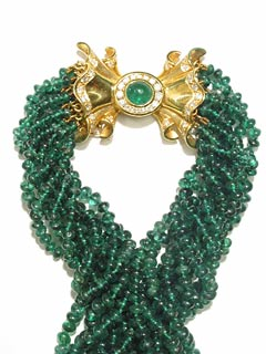Nine Strand Emerald Bead Necklace