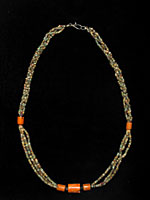 Necklace Composed Of Egyptian Faience Beads Strung With Genuine Antique Coral Beads