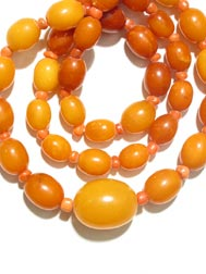 Amber and Coral Bead Necklace