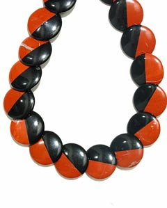 Black Onyx and Red Jasper Bead Necklace