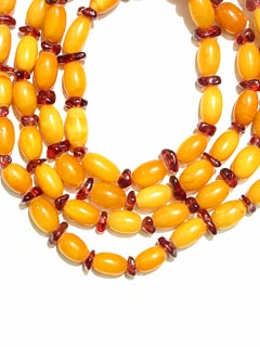 Amber Bead and Garnet Bead Necklace