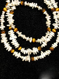 Cultured Pearl And Tiger's Eye Bead Necklace