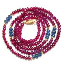 Ruby, Sapphire, Gold Bead Necklace