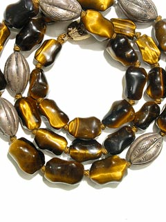Tiger's Eye Bead and Silver Bead Necklace