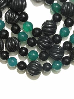 Black Onyx And Chalcedony Bead Necklace