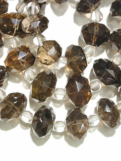 Smoky Quartz And Rock Crystal Bead Necklace