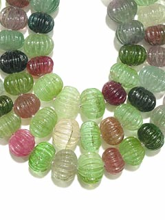 Triple Strand Tourmaline Bead Necklace
