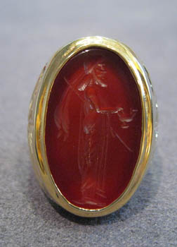 Gold Ring Featuring a Classical Revival Carnelian Intaglio