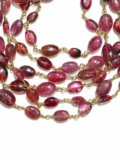 Pink Tourmaline Bead Necklace