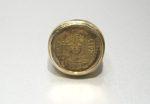 Gold Ring Featuring a Byzantine Gold Coin of Emperor Justinian I