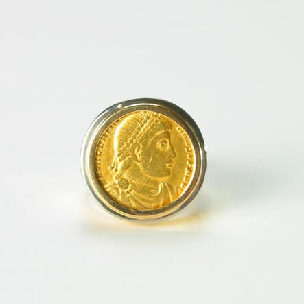Gold Ring Featuring a Roman Gold Coin of Emperor Valentinian