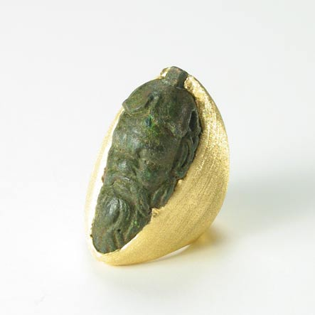 Bronze Head of a Bearded Man Set in a Gold Ring