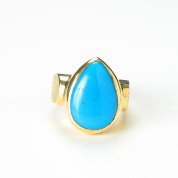 Teardrop-Shaped Turquoise Ring