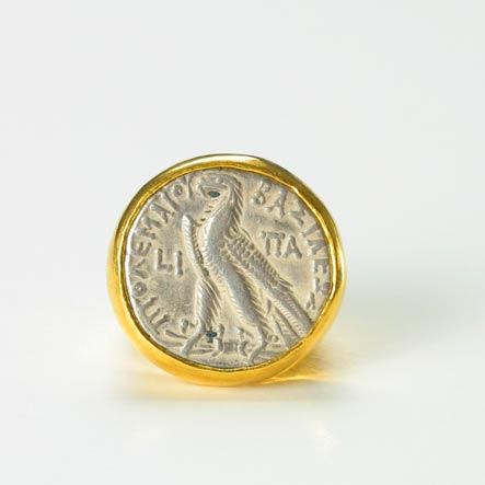Gold Ring with Silver Tetradrachm of King Ptolemy XII