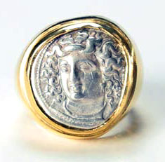 Gold Ring Featuring a Silver Coin of Larissa