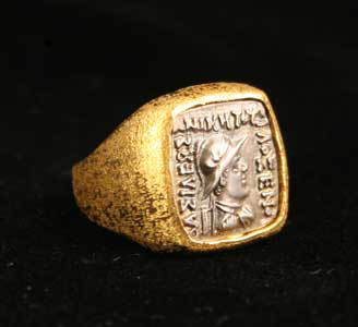 Gold Ring Featuring a Indo-Greek Silver Coin of Emperor Philoxenos