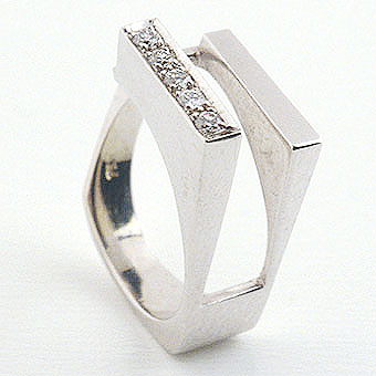 Ring Of 18k White Gold Set With 5 Diamonds .15c