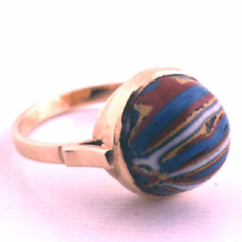 Roman Mosaic Glass Bead Set In A 14k Gold Ring