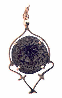 Bronze Coin ofJewish War Set In 18K Gold Pendant