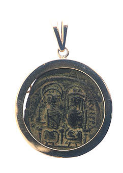Gold Pendant with Byzantine Bronze Coin of Emperor Justinian I