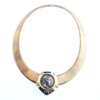 Gold Necklace Featuring a Seleucid Silver Coin of King Demetrius II