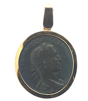 Gold Pendant with Bronze Coin of Emperor Severus Alexander