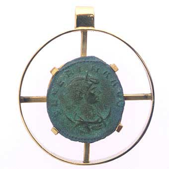 Gold Pendant with Bronze Coin of Empress Severina