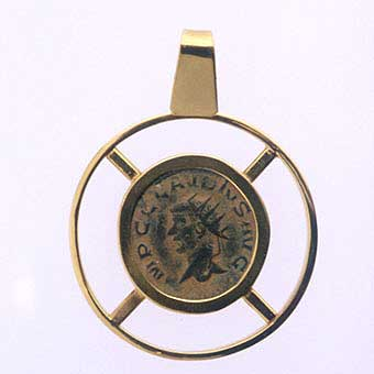 Gold Pendant with Bronze Coin of Emperor Claudius II