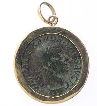 Gold Pendant with Bronze Sestertius of Emperor Severus Alexander