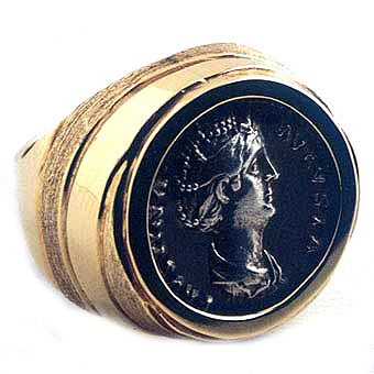 Gold Ring Featuring a Roman Silver Denarius of Empress Faustina