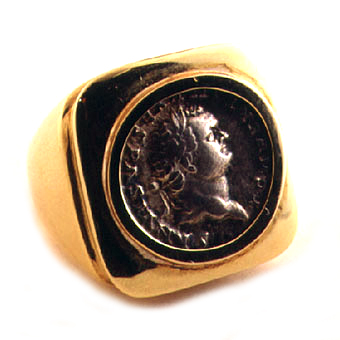 Gold Ring Featuring a Roman Silver Denarius of Emperor Vespasian Set In An 18 Karat Gold Ring