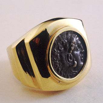 Silver Coin Of King Alexander The Great Set In An 18 Karat Gold Ring