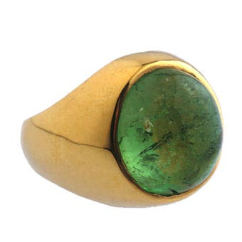 Gold Ring Featuring a Cabochan Colombian Emerald