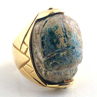 Egyptian Scarab Mounted in an 18k Gold Ring