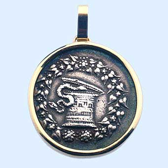 Gold Pendant Featuring a Silver Cistophorus of the City of Ephesus
