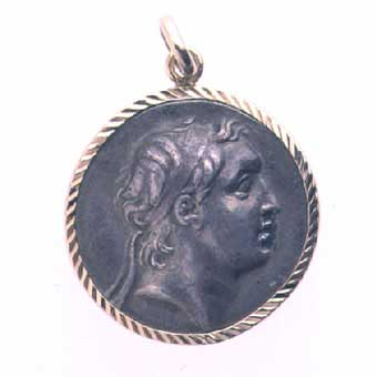 Gold Pendant Featuring a Silver Coin of King Ariarathes IV of Cappadocia