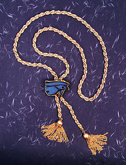 Gold Rope Chain Tassel Belt with a Gold Buckle Featuring a Faience Eye of Horus Amulet