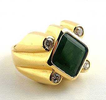 Emerald Ring with 4 Diamonds