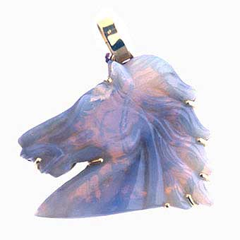 Gold Pendant Featuring a Lavendar Opal Carved in the Form of a Horse Head