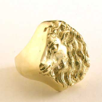 Gold Ring Depicting A Unicorn
