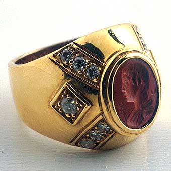 Roman Red Jasper Intaglio Depicting God Mercury.