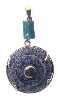 Roman Glass Spindle Whorl and Glass Bead Set in Pendant