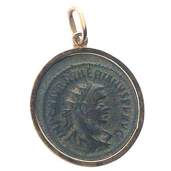 Gold Pendant with Roman Bronze Coin of Emperor Numerian