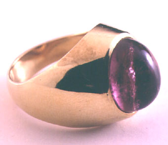 Pink Cabochon Tourmaline Ring Weighing 7 Carats Set In 18 Karat Gold