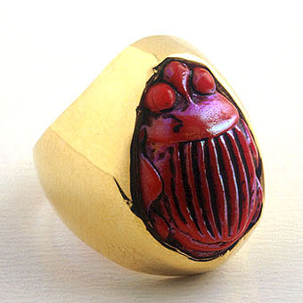 Tiffany Glass Scarab Ring
