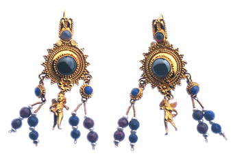 Classical Revival Style Earrings With Lapis Lazuli
