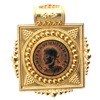 21 Karat Gold Pendant with a Bronze Coin of Roman Emperor Constantine II