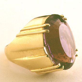 Amethyst set in an 18 karat gold ring